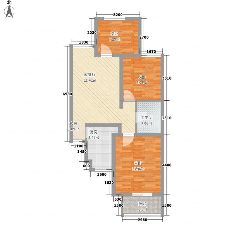 百德・尚景3室1厅1卫1厨64.35㎡户型图