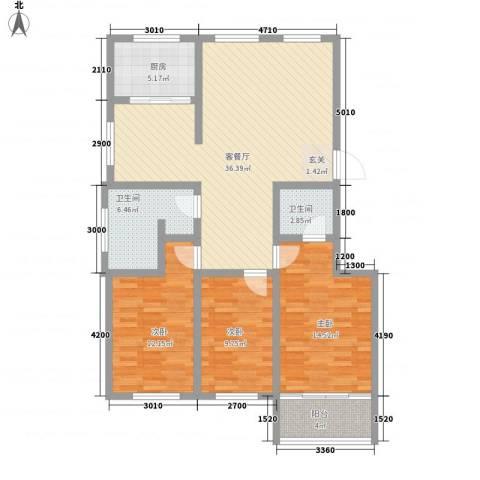 富锦园3室1厅2卫1厨132.00㎡户型图