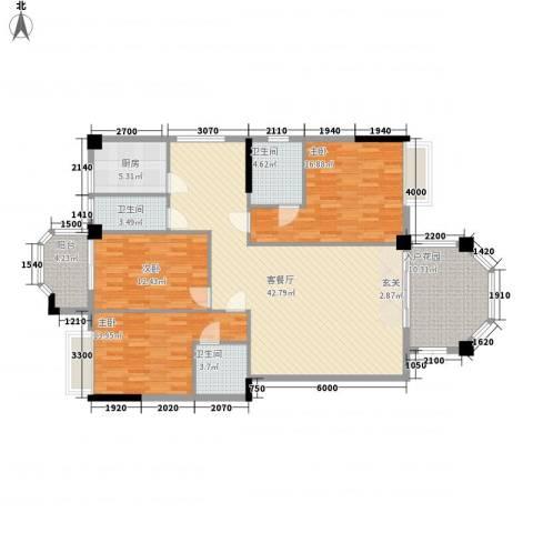 金色家园3室1厅3卫1厨164.00㎡户型图