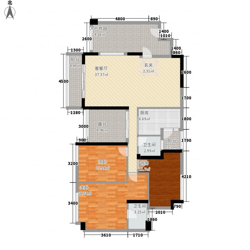 名流印象123.20㎡二期户型3室2厅2卫