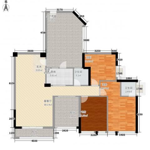 名流印象3室1厅2卫1厨128.00㎡户型图