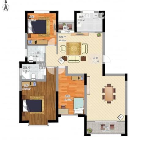金厦龙第新城3室1厅2卫1厨144.00㎡户型图