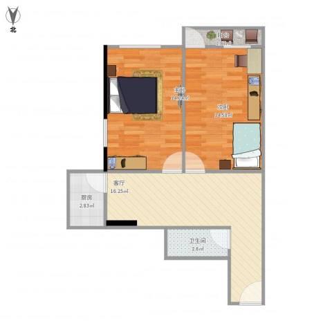 磨房北里2室1厅1卫1厨72.00㎡户型图