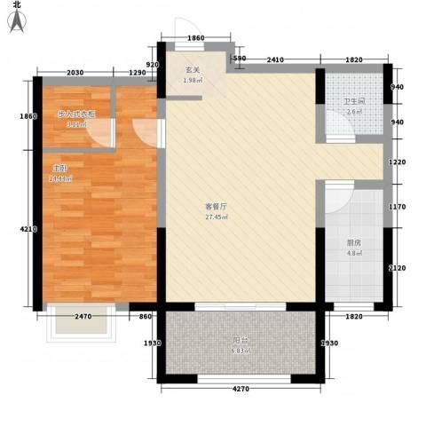 恒馨苑1室1厅1卫1厨86.00㎡户型图