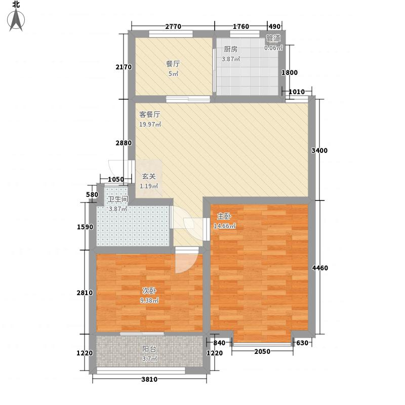 海云天文化名苑88.00㎡户型2室2厅1卫1厨
