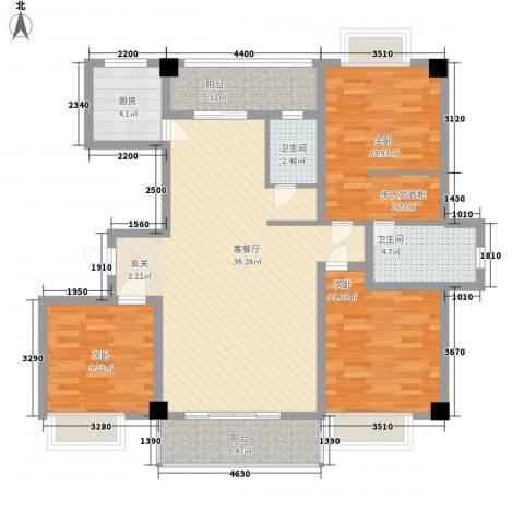 楼村花园3室1厅2卫1厨134.00㎡户型图