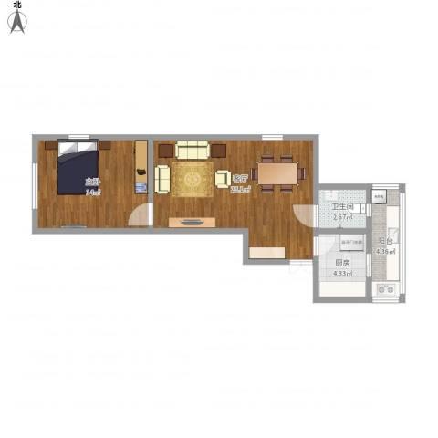 川南里2-1-6011室1厅1卫1厨68.00㎡户型图