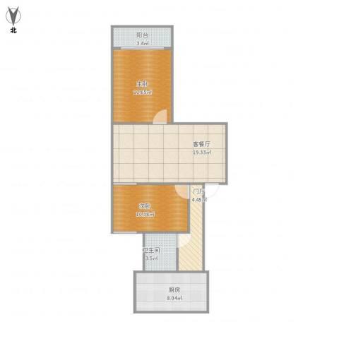 佛山苑2室1厅1卫1厨84.00㎡户型图