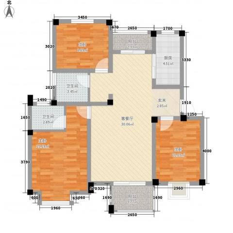 茉莉花园3室1厅2卫1厨94.40㎡户型图