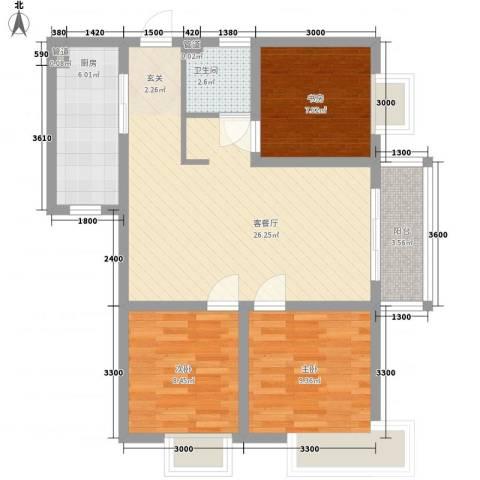 809库单位家属院3室1厅1卫1厨88.00㎡户型图