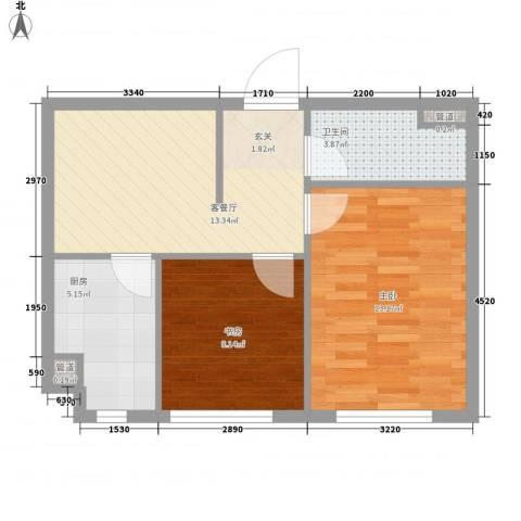 同方大厦2室1厅1卫1厨62.00㎡户型图