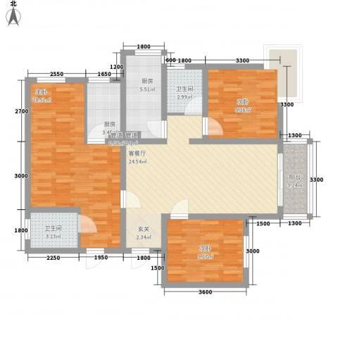 809库单位家属院3室1厅2卫2厨123.00㎡户型图