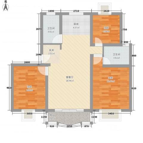 锦梓家园3室1厅2卫0厨100.00㎡户型图