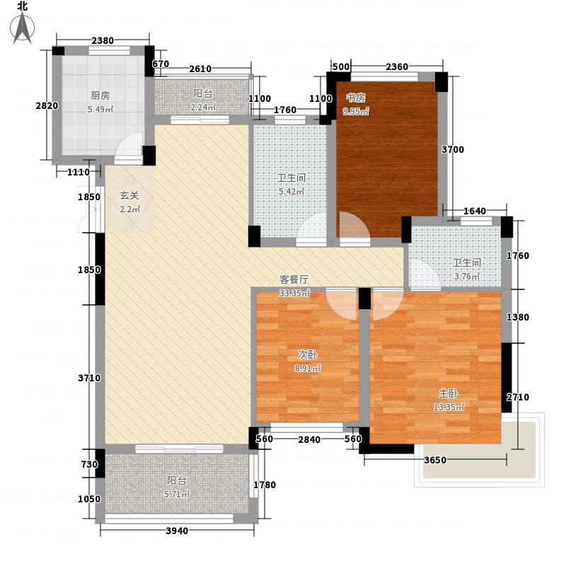 新湖・壹公馆126.00㎡F户型3室2厅2卫1厨