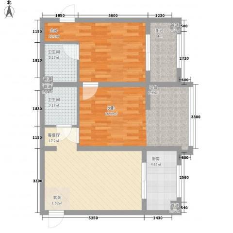 809库单位家属院2室1厅2卫1厨90.00㎡户型图