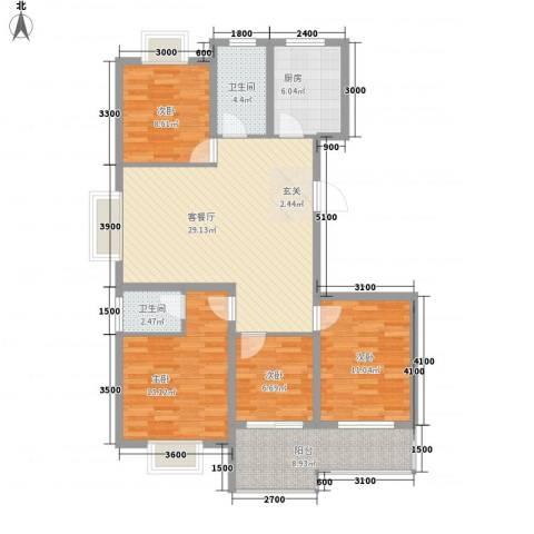 柳青齐鲁园4室1厅2卫1厨129.00㎡户型图