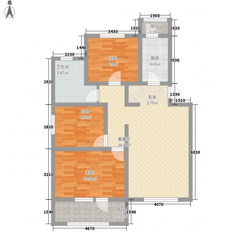 恒兴碧海云居114.00㎡户型3室2厅1卫1厨