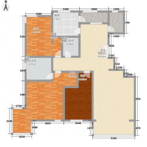 九合国际3室1厅2卫1厨202.00㎡户型图