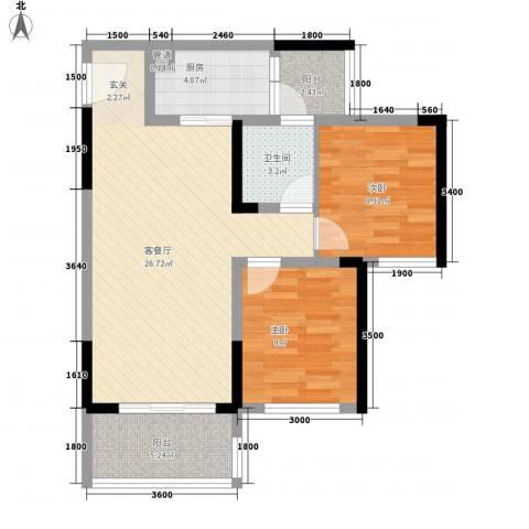 福星佳苑2室1厅1卫1厨87.00㎡户型图