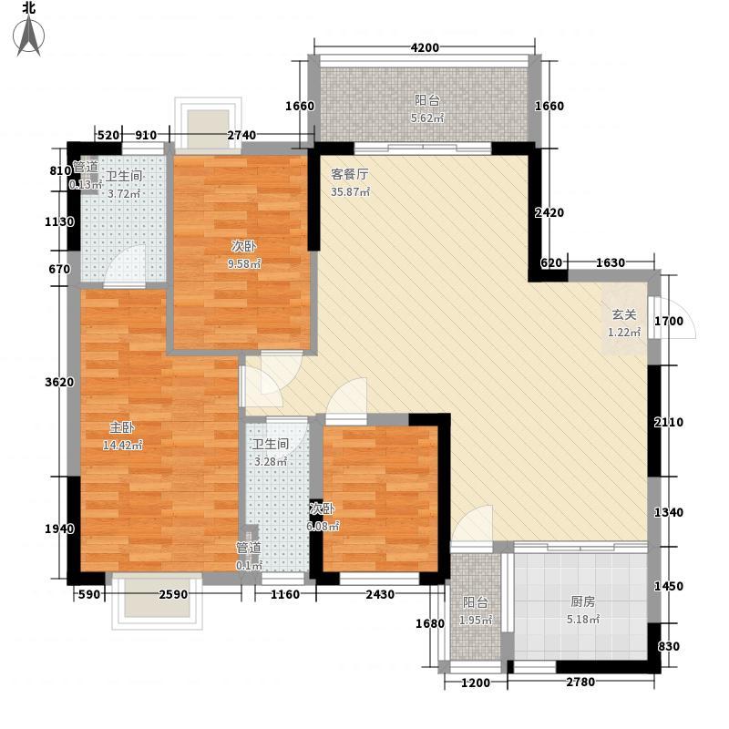 侨园・黄金海岸11.80㎡一期2栋01单位户型3室2厅2卫1厨