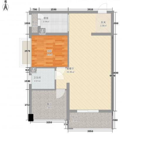南湾江上1室1厅1卫1厨64.20㎡户型图