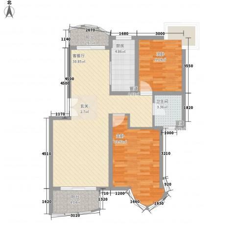 锦梓家园2室1厅1卫1厨99.00㎡户型图