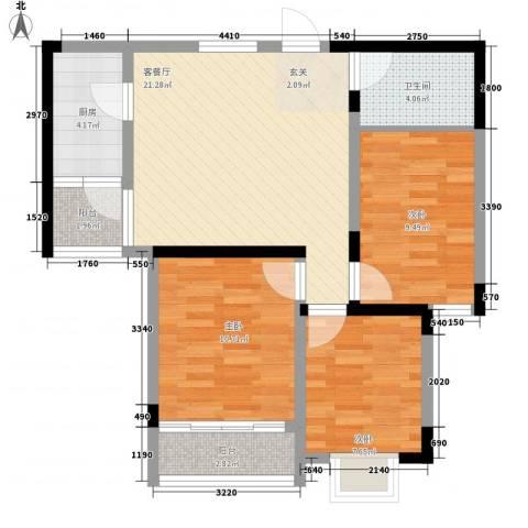 颐青园3室1厅1卫1厨62.13㎡户型图