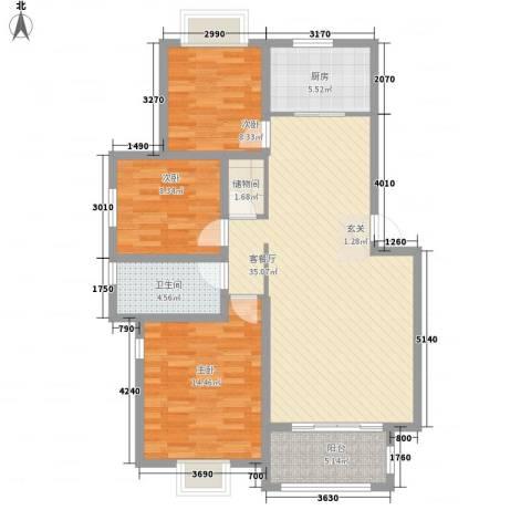 新市民广场3室1厅1卫1厨119.00㎡户型图