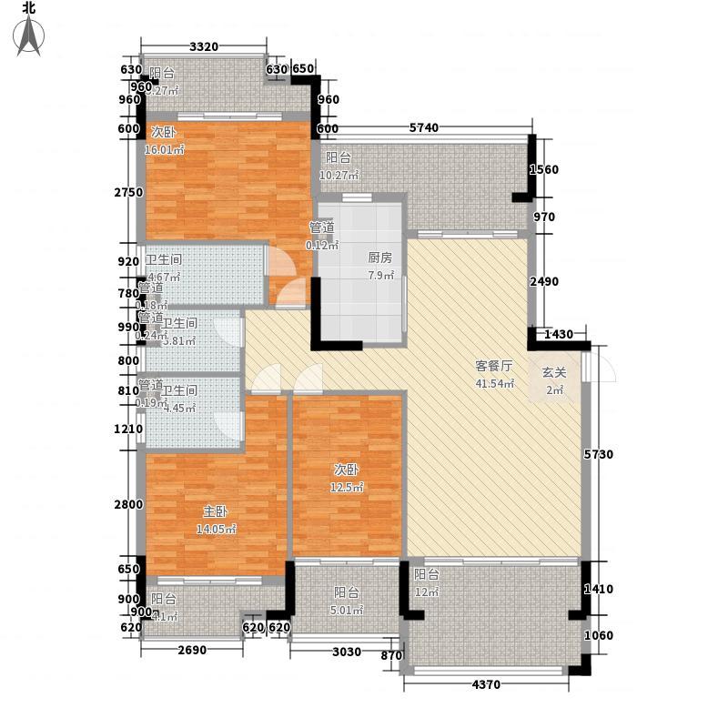 翡翠明珠131.40㎡一期B1座01/B2座03单位户型3室2厅3卫1厨