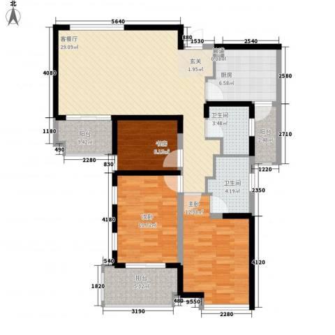 湖适别墅3室1厅2卫1厨121.00㎡户型图