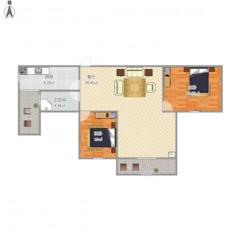 世贸江滨花园2室1厅1卫1厨116.00㎡户型图