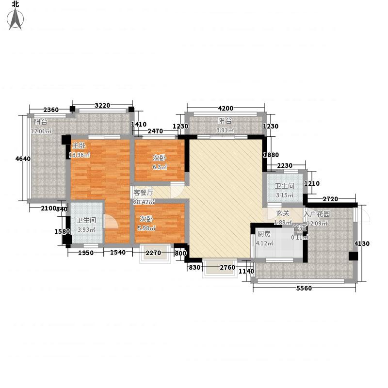 南山诗意135.24㎡户型3室2厅2卫
