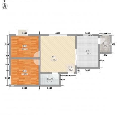 广福家园2室1厅1卫1厨61.32㎡户型图