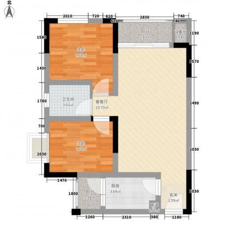 锦绣世家2室1厅1卫1厨58.00㎡户型图