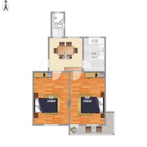 娄江新村2室1厅1卫1厨67.00㎡户型图