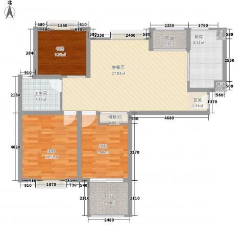 凯尔枫尚3室1厅1卫1厨109.00㎡户型图