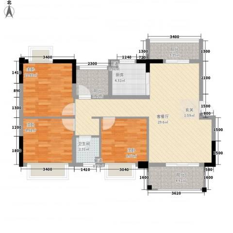 九竹巷3室1厅1卫1厨109.00㎡户型图