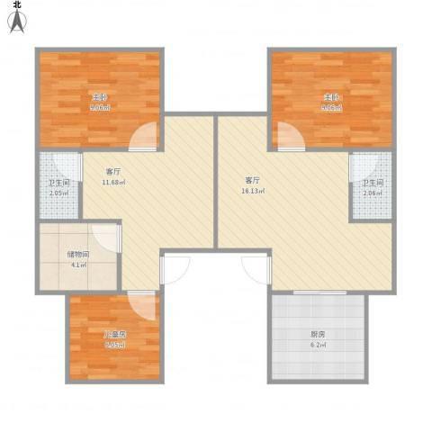 宝林六村3室2厅2卫1厨91.00㎡户型图