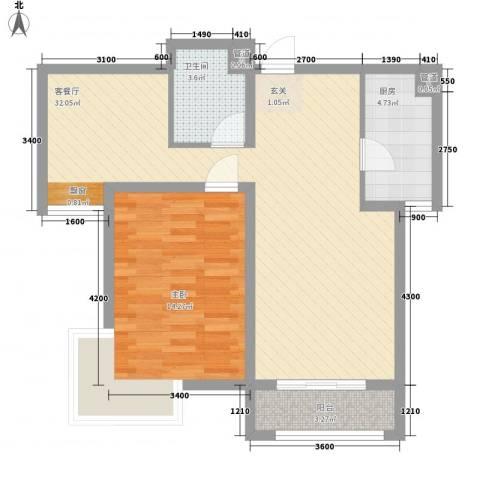 湖西路综合楼1室1厅1卫1厨84.00㎡户型图