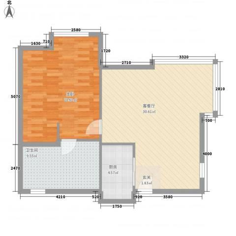 盛世年华1室1厅1卫1厨65.35㎡户型图
