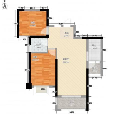 九竹巷2室1厅1卫1厨82.00㎡户型图