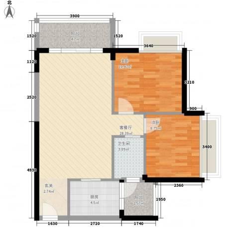 兴伦府2室1厅1卫1厨88.00㎡户型图