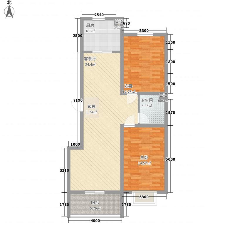 空港国际18.76㎡1#户型2室2厅1卫