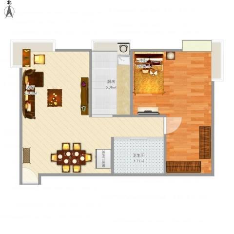 珠江骏景1室1厅1卫1厨67.00㎡户型图