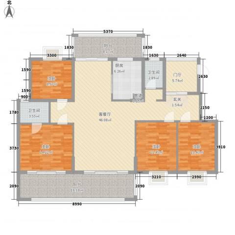 熊猫国际新城4室1厅2卫1厨155.00㎡户型图