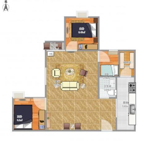 恒大黄河生态城3室1厅1卫1厨75.00㎡户型图