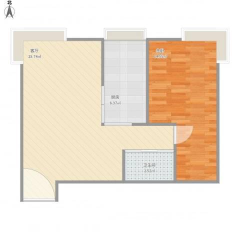 珠江骏景1室1厅1卫1厨66.00㎡户型图