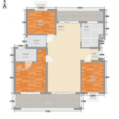 熊猫国际新城3室1厅2卫1厨88.37㎡户型图