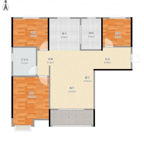 魅力熙郡3室1厅1卫1厨110.00㎡户型图