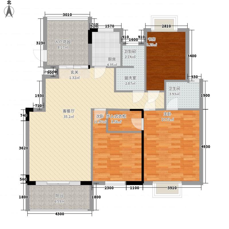 蓝溪枫景125.00㎡25、26、30、31栋标准层户型3室2厅2卫